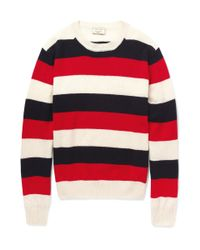 Maison Kitsuné Red Striped Lambswool Sweater for men