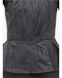 McQ Black Leather Peplum Dress