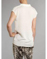 MICHAEL Michael Kors Natural Draped Neck Silk Top