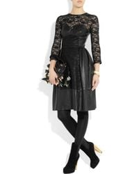 Mulberry | Black Paneled Leather and Lace Dress | Lyst