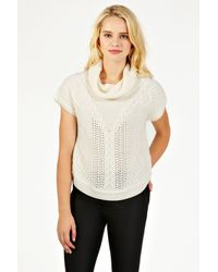 Oasis White Cable Trapeze Cowl Neck Top