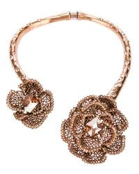 Oscar de la Renta Pink Embellished Rose Necklace