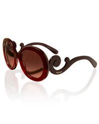 Prada Red Round Sunglasses