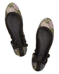Rag & Bone Black Leon Floralprint Brushedleather Ballet Flats