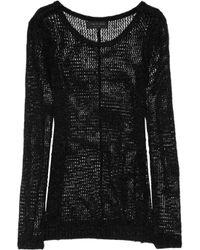 Rag & Bone Black Madrid Open Knit Silk Blend Sweater