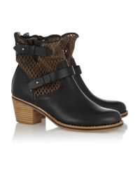 Rag & Bone Black Perforated Leather Ankle Boots
