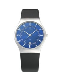 Skagen 233xxlsln Classic Black Leather Mens Watch for men