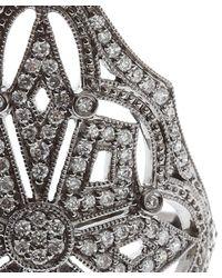 Stone - Metallic White Gold and Diamond Ornate Ring - Lyst