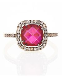Suzanne Kalan | Pink Crimson Topaz and White Sapphire Cushion Cut Ring | Lyst
