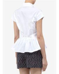 Thakoon White Peplum Cotton Short-sleeve Shirt