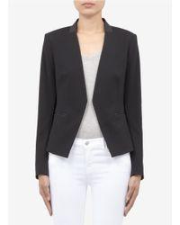 Theory Black 'lanai' Leather-trim Jacket