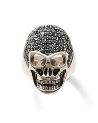 Thomas Sabo | Metallic Rebel At Heart Black Zirconia Skull Ring | Lyst