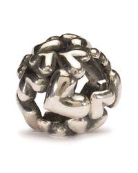 Trollbeads Metallic Heart Ball Silver Charm Bead