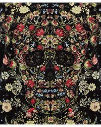 Alexander McQueen Black Floral Skull Boxy Tshirt