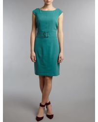 Andrew Marc Green Fitted Shift Dress with Belt