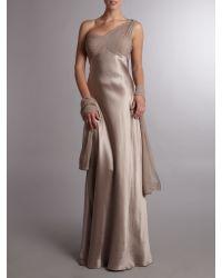 Anoushka G Natural Evelina One Shoulder Silk Satin Grecian Dress