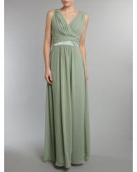 Ariella Natural Chiffon Waist Detail Dress
