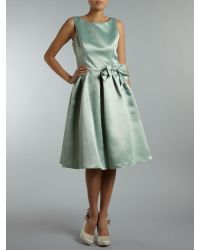 Ariella Green Duchess Satin Shift