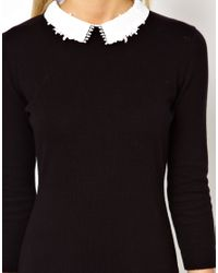 ASOS Black Dress With Lace Collar Detail In Knit