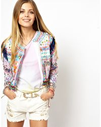 Lazy Oaf Multicolor Asos Premium Biker Jacket with Allover Embroidery and Mirror Applique