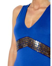 Biba Blue Jersey Maxi Dress with Beaded Embellishment