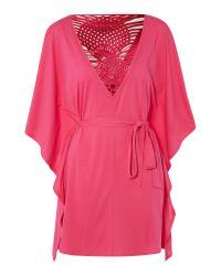 Biba Pink Macrame Back Kaftan with Kimono Sleeves