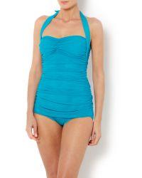 Biba Blue Draped Bandeau Swimsuit