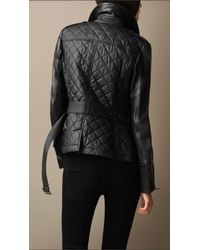 Burberry Black Leather Detail Quilted Jacket