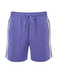 Calvin Klein - Purple Logo Tape Swim Short for Men - Lyst