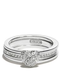 COACH - Metallic Sterling Pave Heart Convertible Ring - Lyst