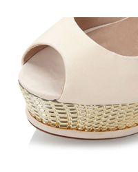 Dune - Natural Marbs Plated Platform Peep Toe Shoes - Lyst