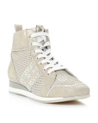 Dune Luxurious Metallic Leather High Top Shoes
