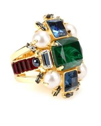 Emilio Pucci Green Crystal Embellished Ring