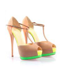 Giuseppe Zanotti Multicolor Neon Contrast T Strap Heel