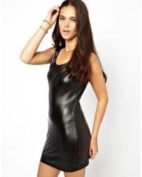 Glamorous Black Leather Look Mini Dress