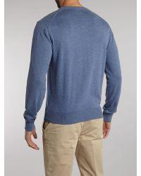 Hackett Blue V Neck Pima Cotton Jumper for men