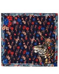 KENZO Multicolor Cream Tiger Floral Print Silk Scarf