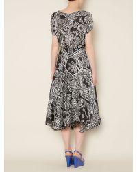 Ralph Lauren Black Animal-print Ruffled Top
