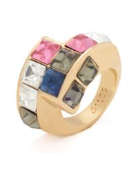 Libertine | Metallic Yellow Gold Crystal Tetris Ring | Lyst