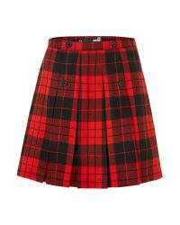 Love Moschino Red Checked Kilt Style Button Detail Skirt