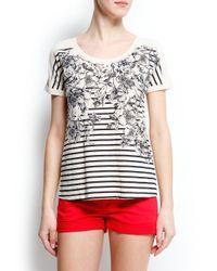 Mango Black Flowers and Striped Tshirt