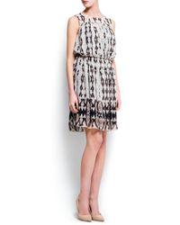 Mango Black Pleated Printed Dress