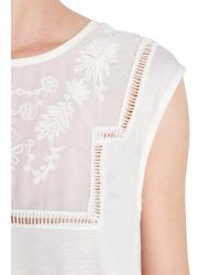 Mango Natural Embroidered Sheer Detail Top