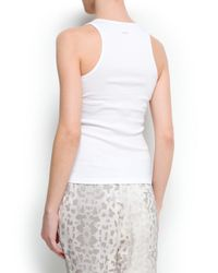 Mango White Cotton Tank Top