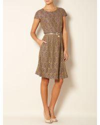 Max Mara Studio - Brown Sacha Belted Lace Shift Dress - Lyst