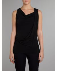 MICHAEL Michael Kors Black Sleeveless Cowl Neck Top with Pleated Shoulder