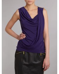 MICHAEL Michael Kors Blue Sleeveless Cowl Neck Top with Pleated Shoulder