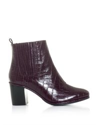 Opening Ceremony Purple Brenda Embossed Leather Ankle Boots