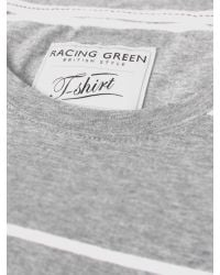 Racing Green - Gray Nep Striped T Shirt for Men - Lyst