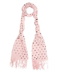 Simeon Farrar Pink Polka Dot Print Cashmere Scarf